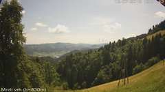 view from VREME ŽIRI-cam-3-VZHOD-Mrzli vrh on 2019-07-12