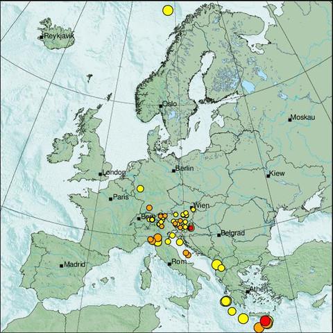 time-lapse frame, Erdbeben Europa webcam